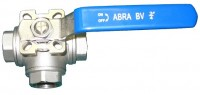 Шаровые краны трехходовые нержавеющие из стали AISI316 (CF8M) Ду 8-50 Ру40 резьба/резьба Тип ABRA-BV15 c ISO верхним фланцем, с рукояткой, T-порт и L- порт